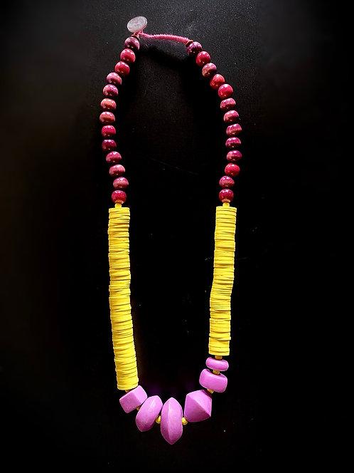 Long Strand 1970 Purple Wood Necklace