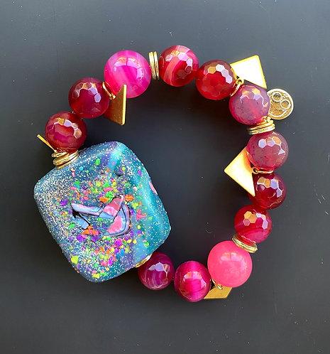 Blue Galactic Cranberry Agate Bracelet