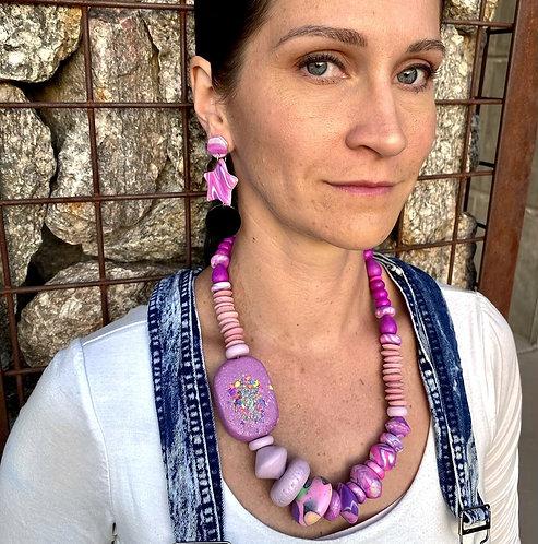 Hot Pink Purple Star Earrings