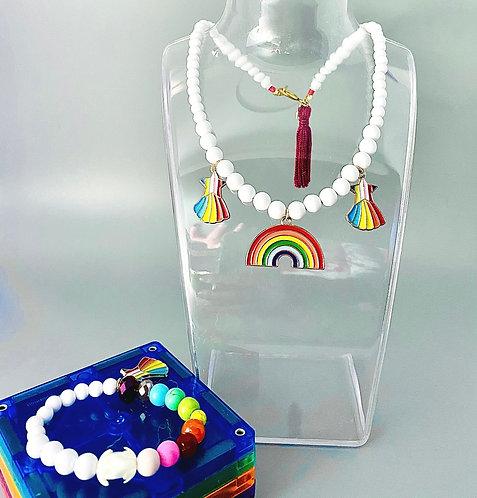 Kid's Rainbow Bracelet & Necklace Set