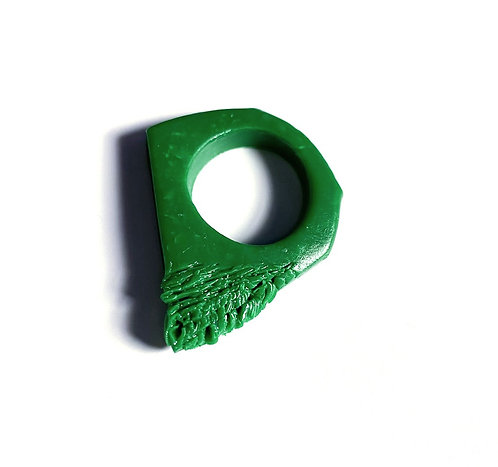 Emerald Green Textured Ring