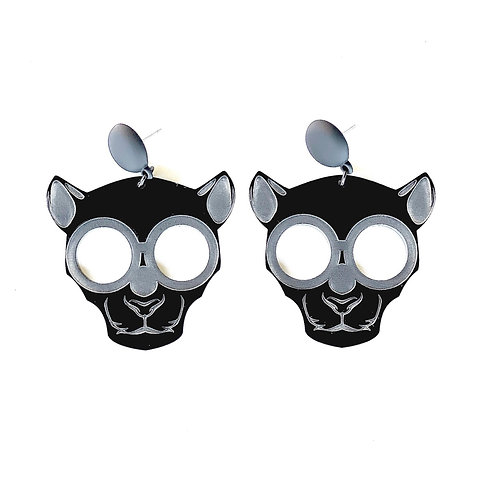 Ze Panther Earrings w/ Matte Black Studs