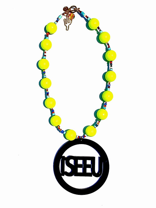 I SEE U Pendant Necklace w/ Neon Yellow Beads