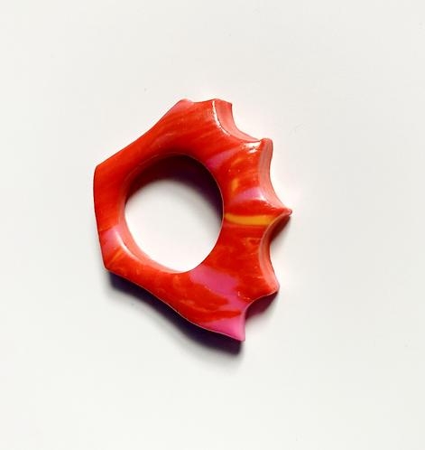Orange Pink Marble Crown Ring