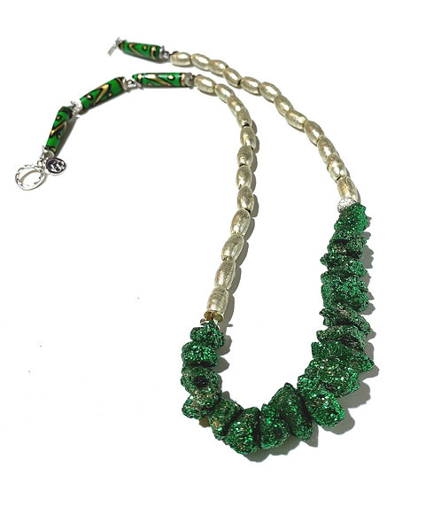 Emerald Druzy Necklace with Silver African Beads