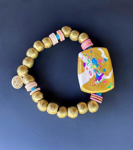 Golden Brass Stretch Bracelet