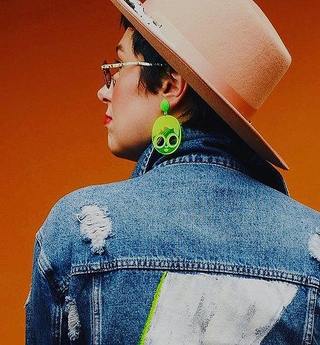 Urbane Cole Designer Earrings Neon Green