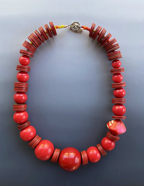 Red Vinyl Statement Necklace