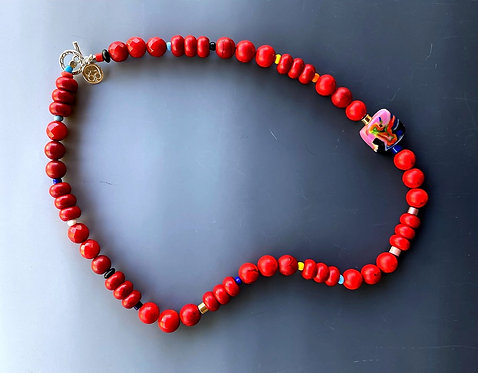 Red Howlite Gemstone Necklace