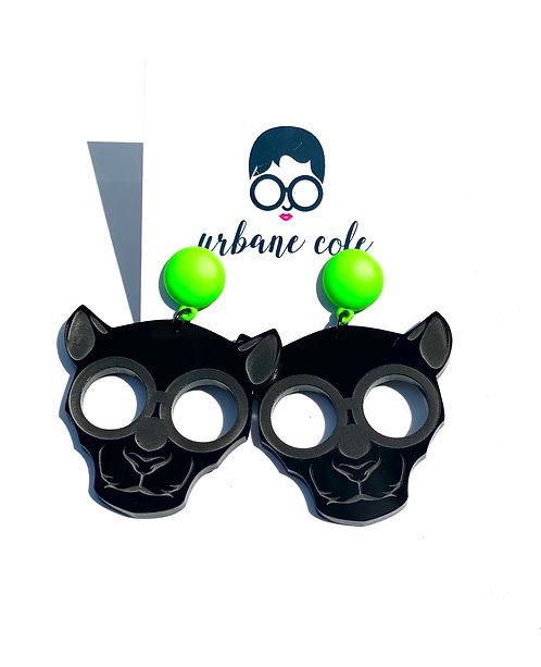 Ze Panther Earrings w/ Matte Neon Green Studs
