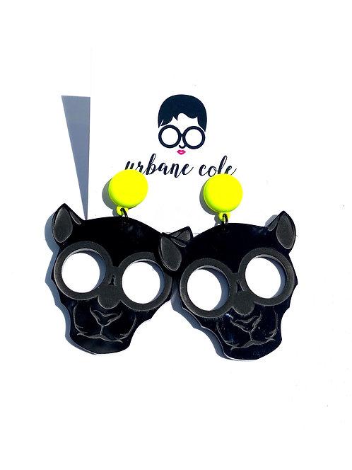 Ze Panther Earrings w/ Matte Neon Yellow Studs