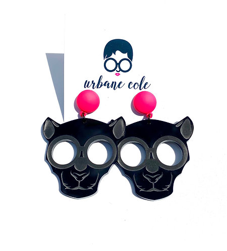Ze Panther Earrings w/ Matte Neon Pink Studs