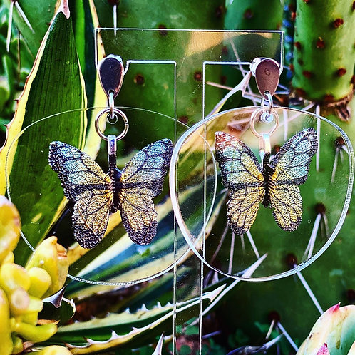 I SEE U Acrylic Earrings w/ Butterflies