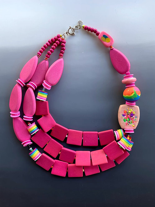 Hot Pink Multi Strand Necklace