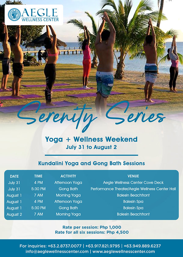 Serenity Series - Schedule of Yoga and G