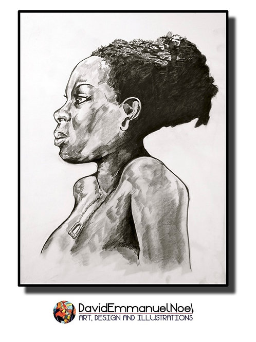 Woman pencil drawing gift card