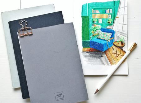 My favorite and cheapest sketchbook: Gerstaecker's I LOVE ART