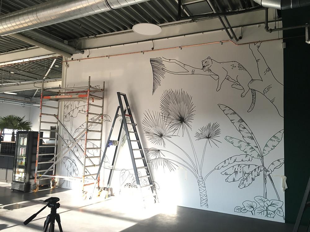 Ontwerp Nienke Vletter muurschildering Voys Spindle