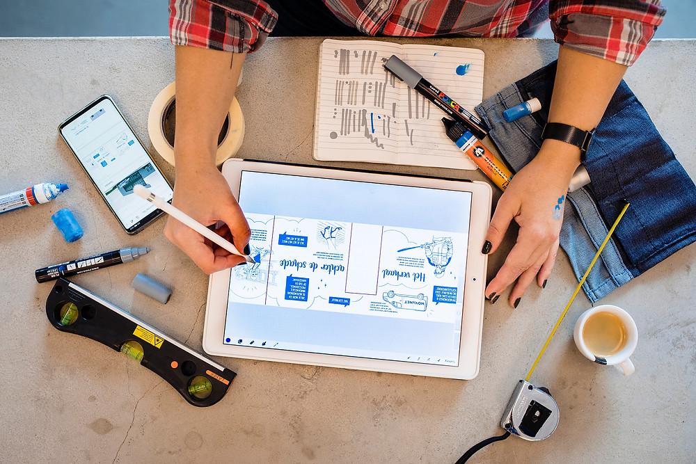 Nienke Vletter ontwerp mural Procreate iPad