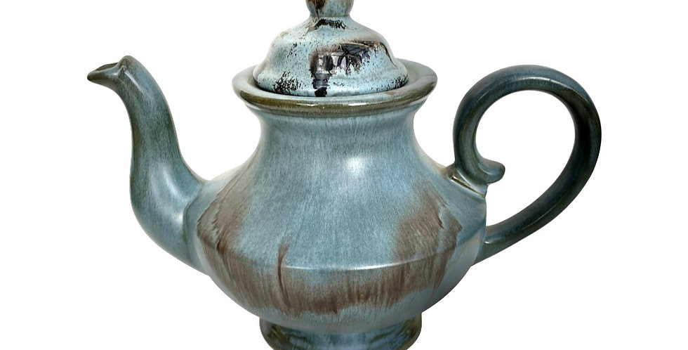 A gorgeous glazed 'Blue Mountain' teapot to be potted with succulents