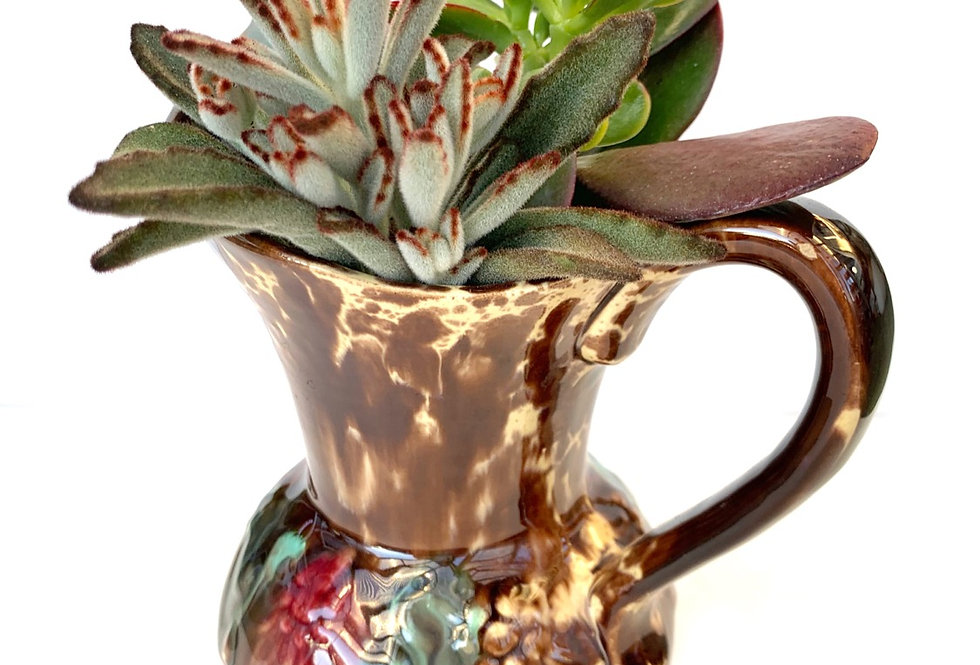 A stunning large glazed jug full with colourful succulents