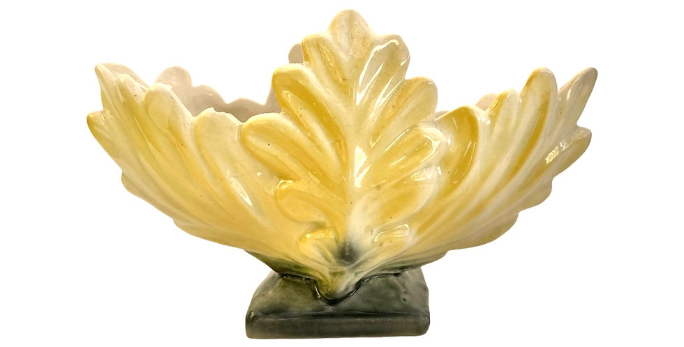 A stunning yellow leaf design vintage vase to be filled with succulents