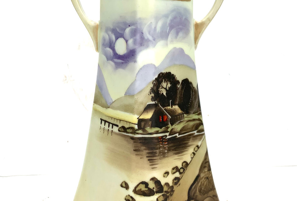 Beautiful painted vintage Japanese vase that will be potted with succulents