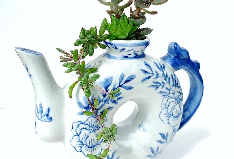 Funky blue & white china style teapot