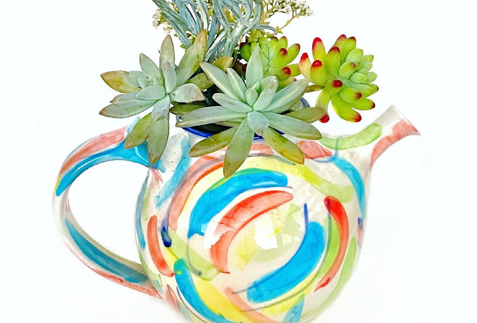 A gorgeous hand painted NZ teapot filled with colourful succulents