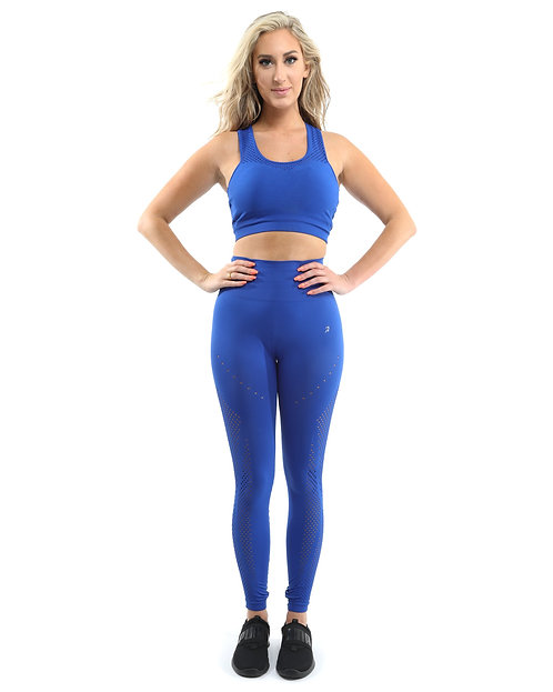Milano Seamless Set - Leggings & Sports Bra - Blue [MADE IN ITALY] - Size Small