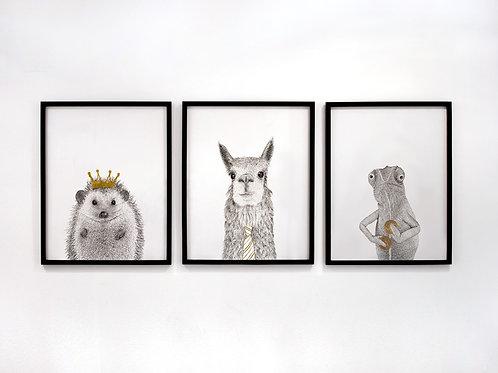 Hedgehog, Alpaca, and Chameleon Framed Set