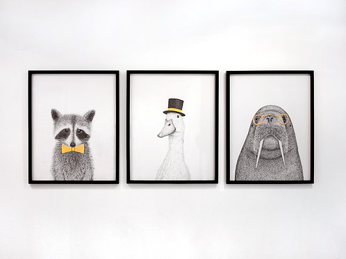 Raccoon, Duck, and Walrus Framed Set