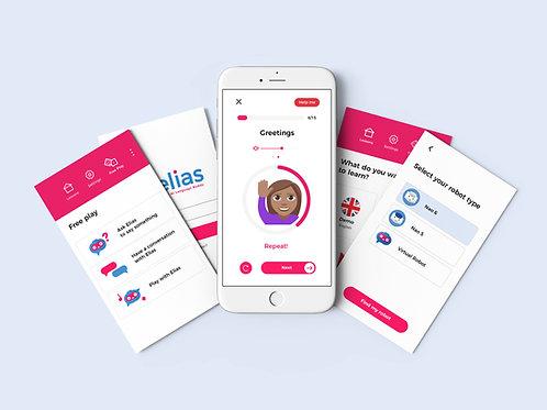 Elias Robot App - Kielten varhennuspaketti (5 kieltä), 1 vuosi