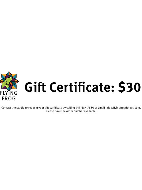 Gift certificate: $30