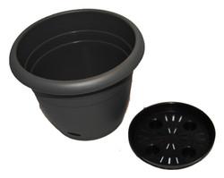 self watering pot grey