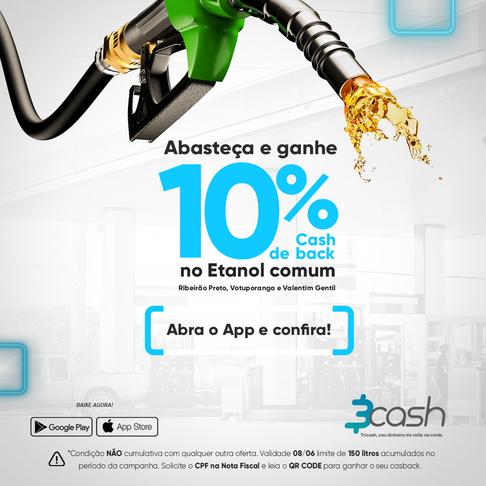 Abasteça com Etanol Comum com o App 3cash e Ganhe muito mais cashback