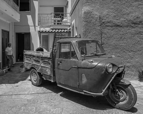 Worker and Vintage Truck, Pirgos, Samos