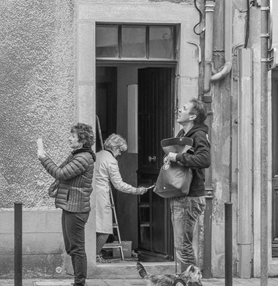 Tourists and Homeowner, Carcassone, France
