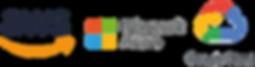 Amazon AWS logo, Microsoft Azure logo, Googe Cloud Platform (GCP) logo