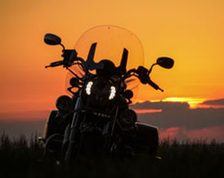 Motorcycle at  golden sunset