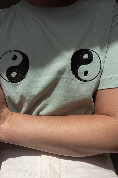 Yin & Yang Organic Sage Green T Shirt by Nude Ethics