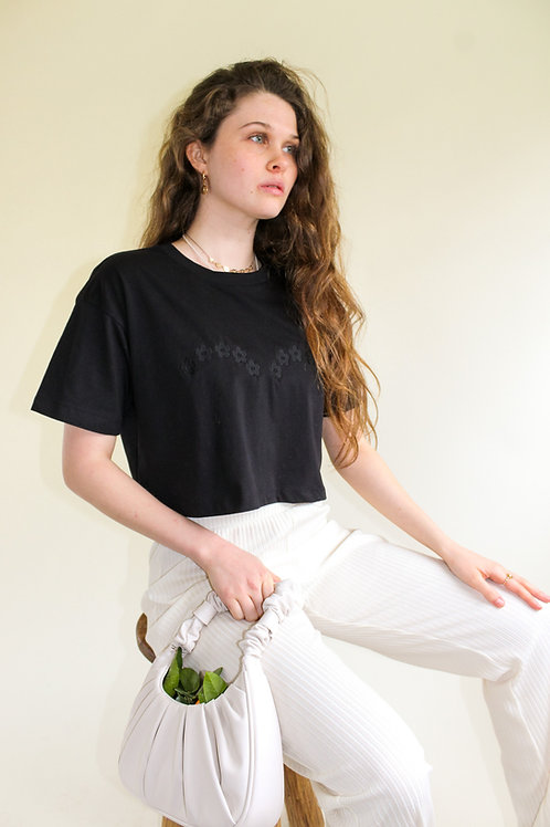 Daisy Arch Organic Black Cropped T Shirt by Nude Ethics