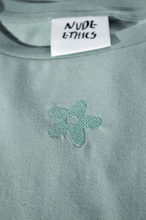 SAMPLE Mini Daisy Organic Light Sage Green T Shirt by Nude Ethics - SMALL