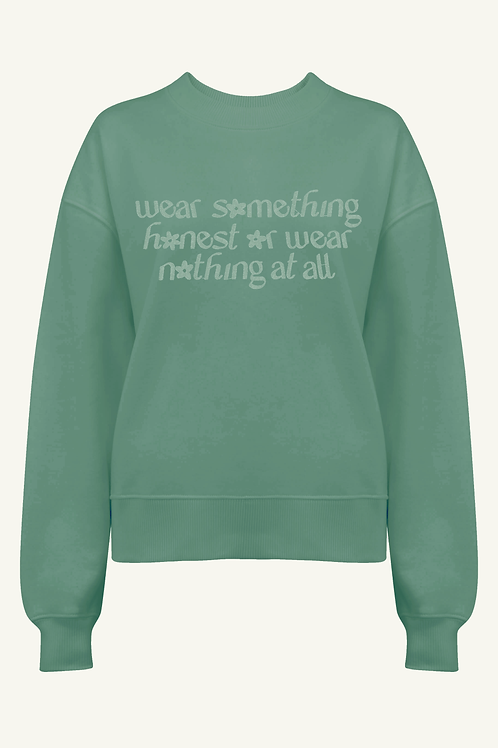 'Wear Something Honest' Organic Sage, Slate or White Thick Jumper by Nude Ethics