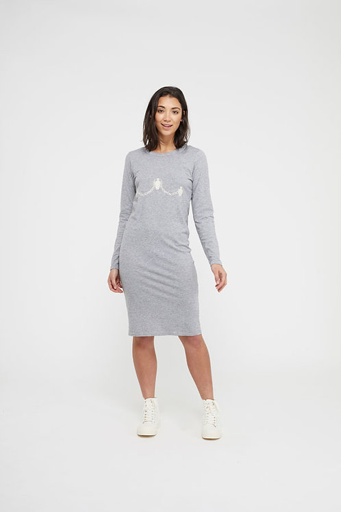 Ceramic Chains Organic Grey Midi Dress by Nude Ethics