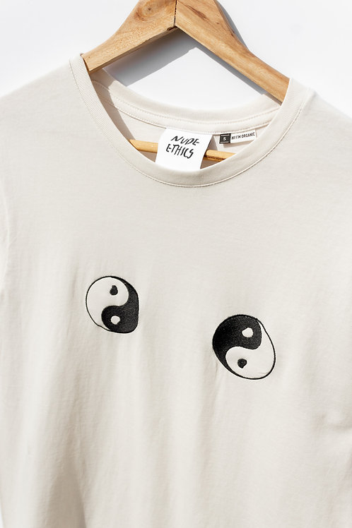 Yin & Yang Organic Light Beige T Shirt by Nude Ethics