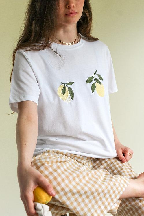 Lemon Bloom Organic White T Shirt by Nude Ethics