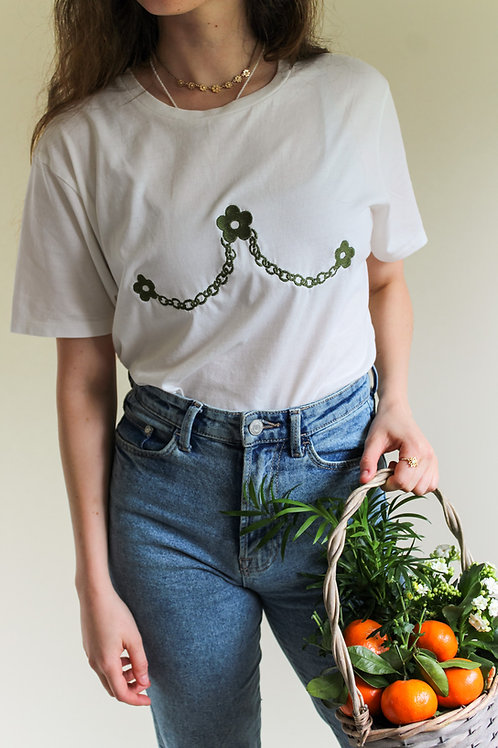 Daisy Chain Organic White T Shirt by Nude Ethics - Small