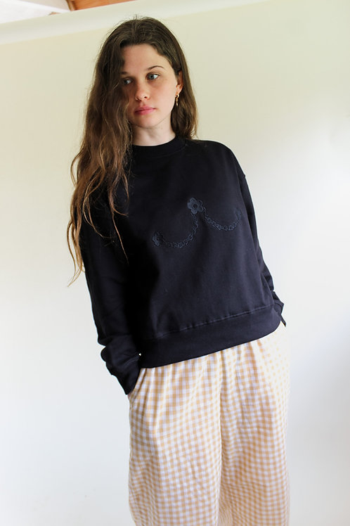 Daisy Chain Organic Black Thick Jumper by Nude Ethics