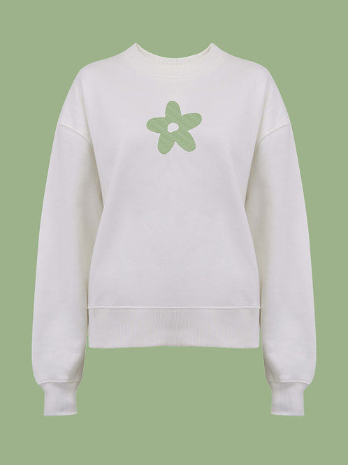Retro Daisy Organic Off-White Thick Jumper by Nude Ethics